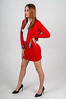 Весенний красно-белый комплект мини-юбка красная с декором, бомбер красный, гольф белый с декором