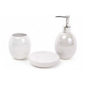 Набор для ванной комнаты 3 предмета Белый перламутр (дозатор, стакан, мыльница) BonaDi 851-239