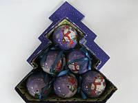 """Набор елочных шаров глянцевые в подарочной коробке """"Снеговик с детьми"""" 6 шт. 75 мм."""