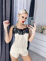 Женская шелковая пижама с широким кружевом, 5 цветов с 40 по 46рр