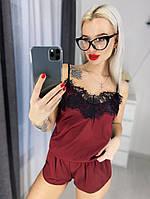 Женская шелковая пижама с широким кружевом, 5 цветов с 40 по 46рр 44-46, Бордовый