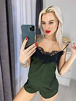 Женская шелковая пижама с широким кружевом, 5 цветов с 40 по 46рр 44-46, Хаки