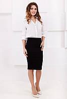 Стильная трикотажная женская юбка-карандаш миди, 7 цветов 44, Черный