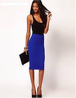Стильная трикотажная женская юбка-карандаш миди, 7 цветов 40, Синий