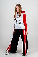 Весенний красно-черно-белый комплект одежды в спортивном стиле для женщин