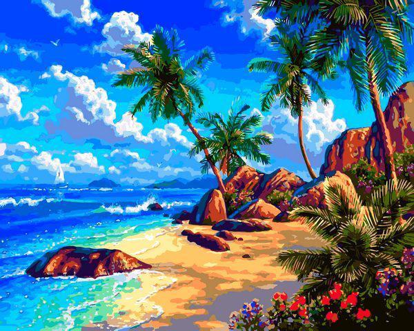 Картина малювання за номерами Babylon Морський берег VP1293 40х50см набір для розпису, фарби, кисті, полотно