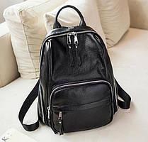 Классический городской женский кожаный рюкзак Черный