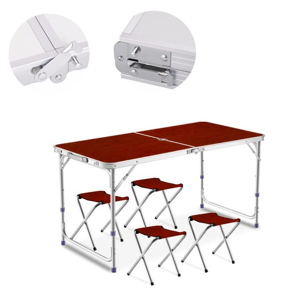 Складной туристический столик чемодан и стулья коричневый для пикника туризма стол с отверстием для зонта