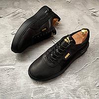 Чоловічі шкіряні кросівки Puma, чорні, фото 1
