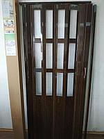 Двері гармошка полуостекленная 860х2030х12мм Горіх №8 доставка з Дніпра, фото 1