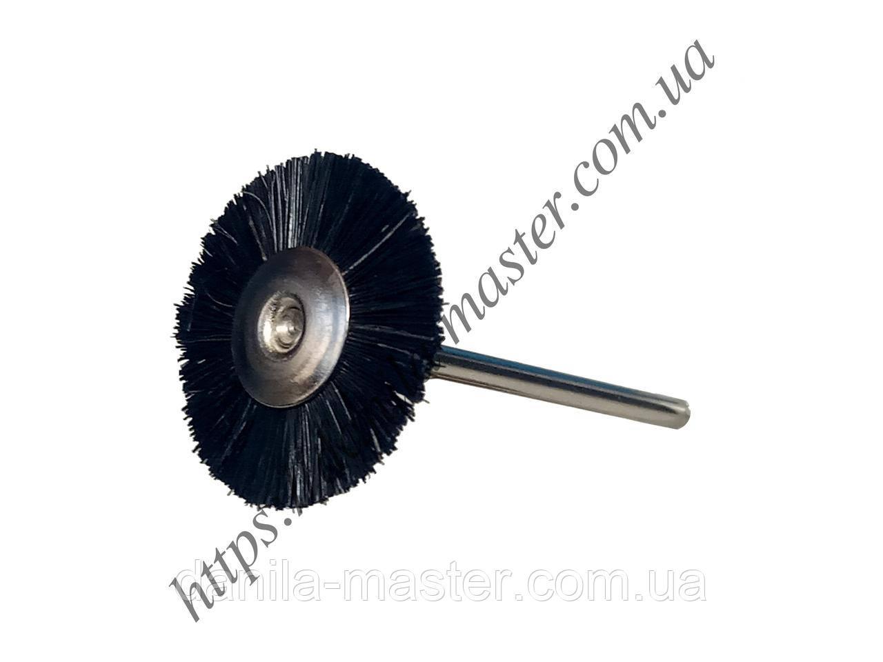 Щетка щетинная черная жесткая Ø22 мм с держателем (2,35 мм)