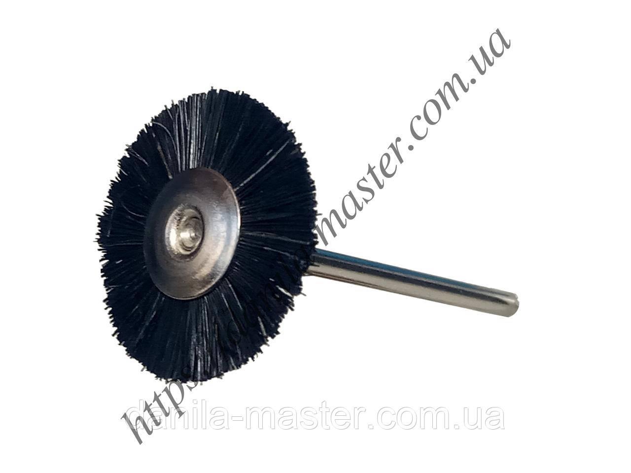 Щетка щетинная черная жесткая Ø25,4 мм с держателем (2,35 мм)