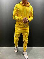 Мужской весенний желтый спортивный костюм