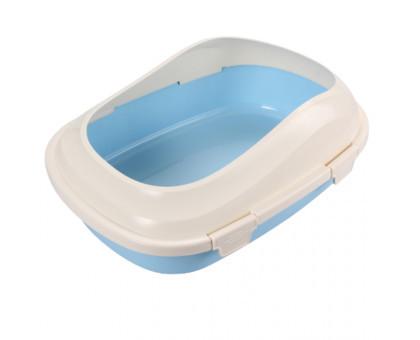 Туалет под наполнитель AnimAll с бортиком, 46х33х16 см, P 1121 голубой