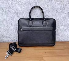 Деловая черная сумка-портфель мужская кожаная для ноутбука и документов Tiding Bag