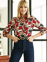 Стильная рубашка с принтом на застежке пуговицы и длинным рукавом