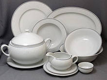 Сервиз столовый Thun Opal (Обводка сіра) на 6 персон 25 предметов фарфор (8034800)