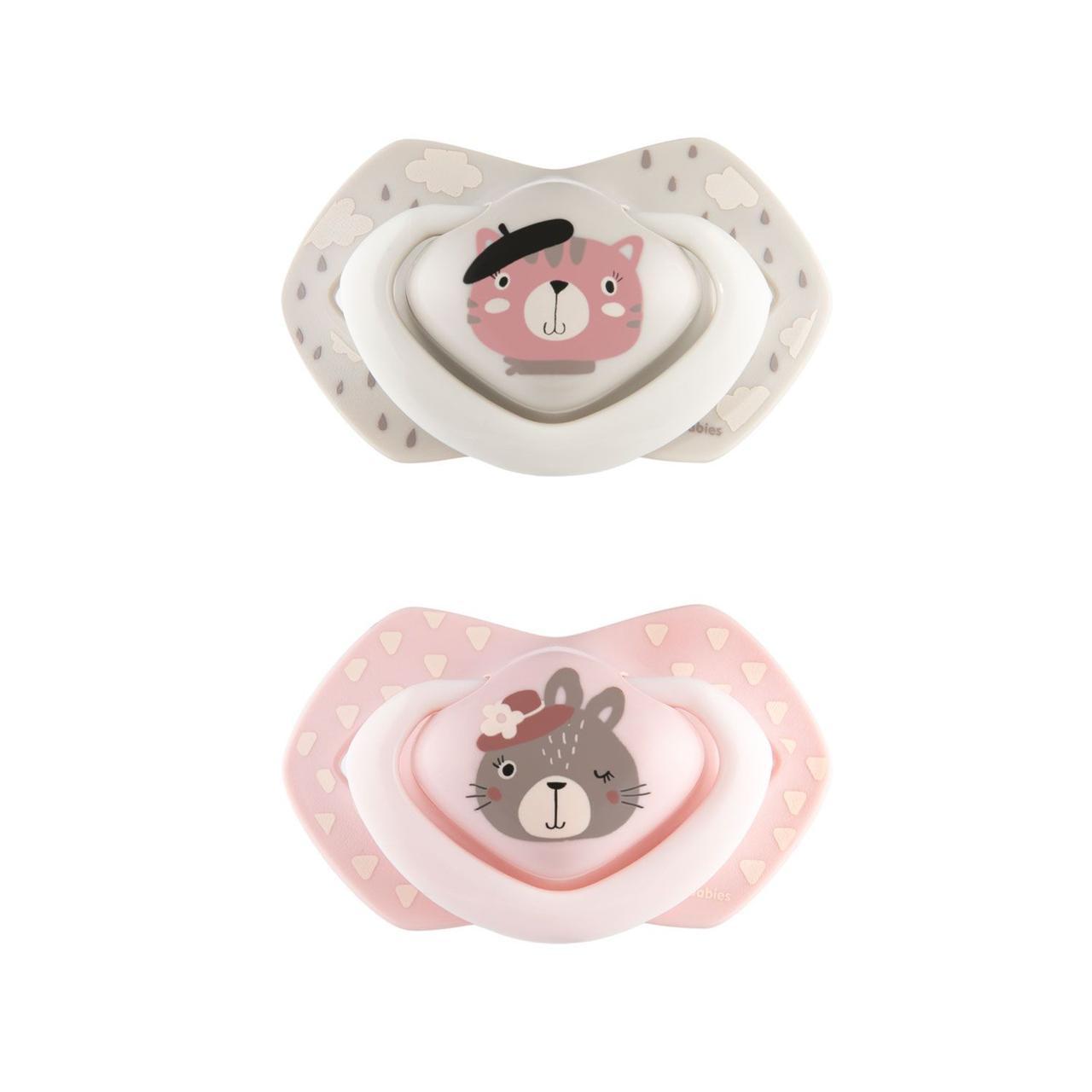 Пустушка силіконова симетрична 18+ міс BONJOUR PARIS 2 шт. - рожева  Canpol babies 22/649_pin