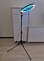 "Штатив - стойка студийная 2м + цветная кольцевая лампа RING LIGHT 12 "" LED RGB MJ33 диаметром 30 см Комплект"