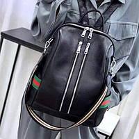 Женский кожаный городской рюкзак сумка Черный