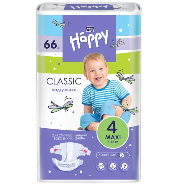 Підгузки дитячі Bella Baby Happy Classic Maxi 8-18 кг 66 шт.