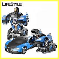 Машинка трансформер, Робот машина, Машинка Трансформер Bugatti Robot Car Size 12
