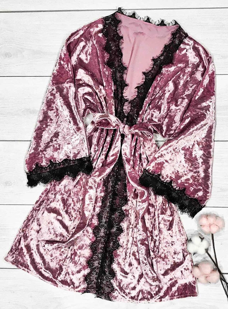 Женский домашний халат с кружевом Pink. Велюровые халаты ТМ Exclusive.