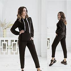 Комфортний жіночий прогулянковий костюм-двійка: кофта та штани Diva PT-163black | 1 шт.