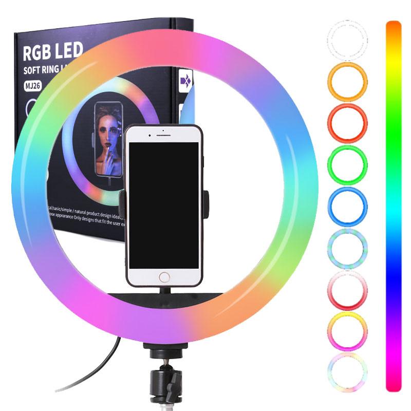 Кільцева світлодіодна лампа 26см RGB USB - для Селфі Блогера - з Тримачем для телефону (1005)