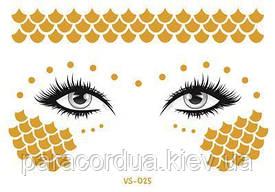 Золотые (Металические) Флеш тату для лица, для макияжа, тату-веснушки, Временная татуировка. 15*10.5 см 25
