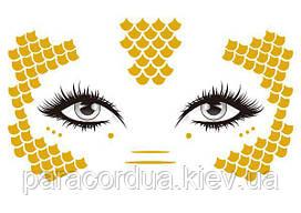 Золотые (Металические) Флеш тату для лица, для макияжа, тату-веснушки, Временная татуировка. 15*10.5 см 32