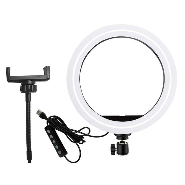 Фото 2 Кільцева світлодіодна лампа для селфі 26см RGB комплект