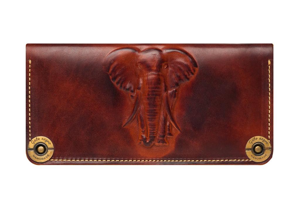 """Кошелек кожаный """"Слон"""" коричневый"""