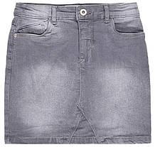 Детская серая джинсовая юбка для девочек 4-8 лет