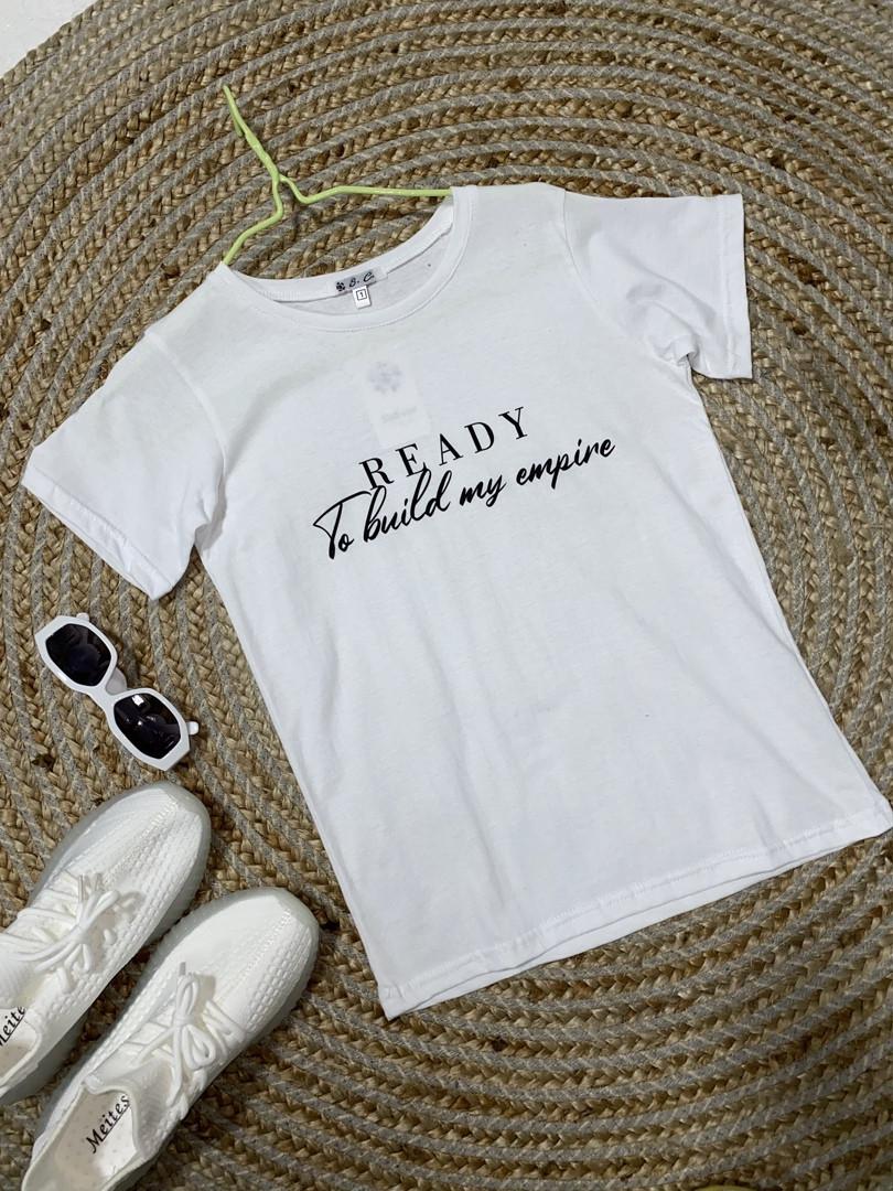 Жіноча футболка, бавовна, р-р 42-44; 46-48 (білий)