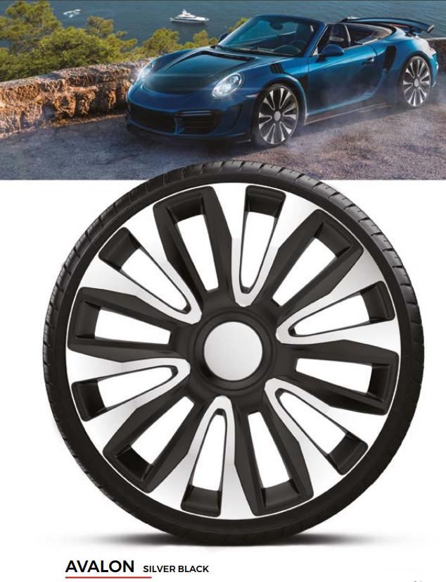 Колпаки колесные Avalon Silver Black R16
