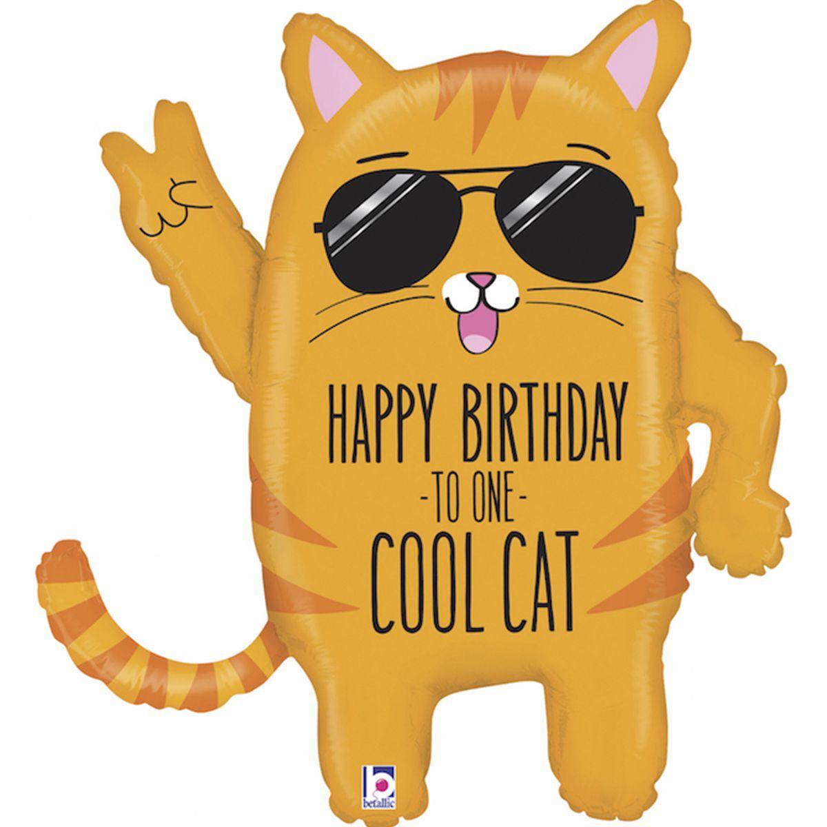 """G 33"""" Фигура Кот. Фольгированный шар кот С днем рождения крутому коту"""