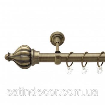 Карниз для штор металевий ТАДЖА однорядний 25мм 2.0 м Античне золото