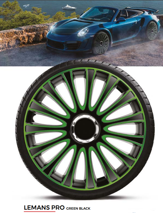 Колпаки колесные Lemans Pro Green Black R13