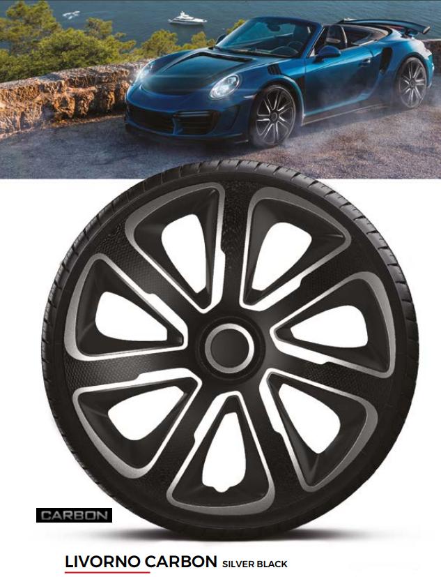 Колпаки колесные Livorno Carbon Silver Black R16