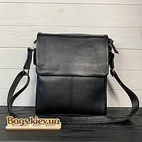 Мужская кожаная сумка через плечо черная / Мужские сумки из натуральной кожи