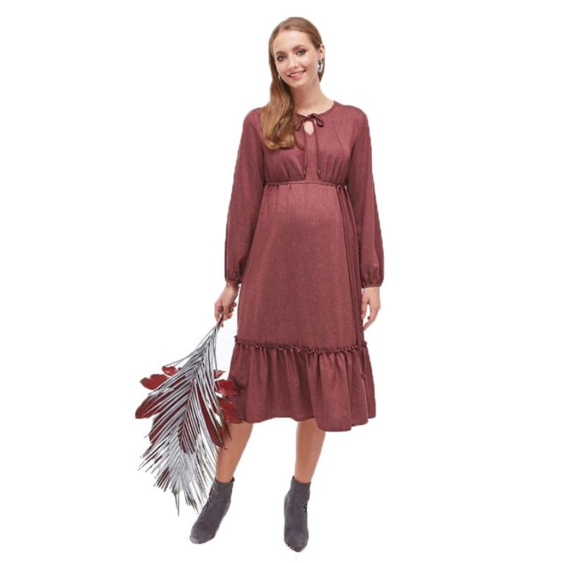 Платье для беременных и кормящих ЮЛА МАМА Monice (размер XS, бордовый)