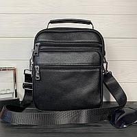 Мужская кожаная сумка через плечо Черная из натуральной кожи, мужские сумки с ручкой