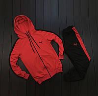 Мужской спортивный костюм Puma красный Чоловічий спортивний костюм Пума червоний