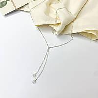 Хрустальное ожерелье на шею - цвет серебро