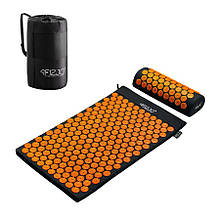 Коврик акупунктурный с валиком 4FIZJO Аппликатор Кузнецова 72x42 см Черный-Оранжевый