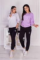 Женский спортивный костюм 21011 (42-44; 46-48) (черный, белый, малиновый, лиловый, бирюза, салатовый) СП, фото 1