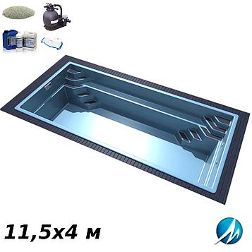 Комплект обладнання для скловолоконного басейну 11,5х4 м