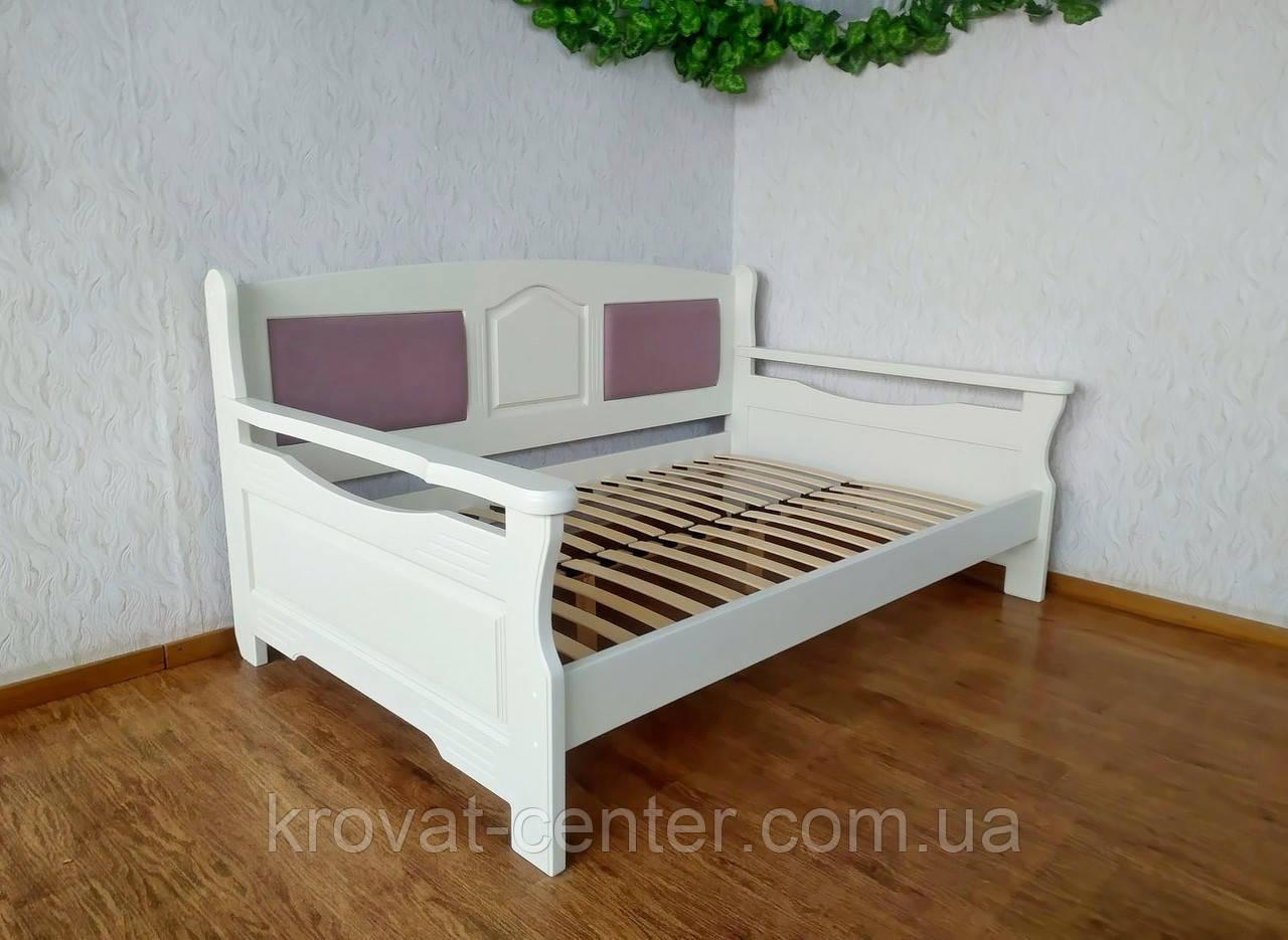 """Полуторний диван ліжко з масиву дерева з м'якою спинкою """"Орфей Преміум - 2"""""""