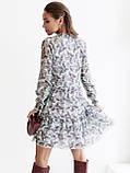 Шифонова сукня-міні з довгим рукавом, фото 3